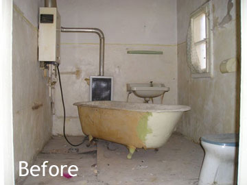 Bathroom before renovation and furnishing