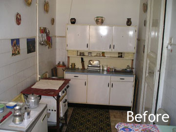Kitchen before renovation and furnishing